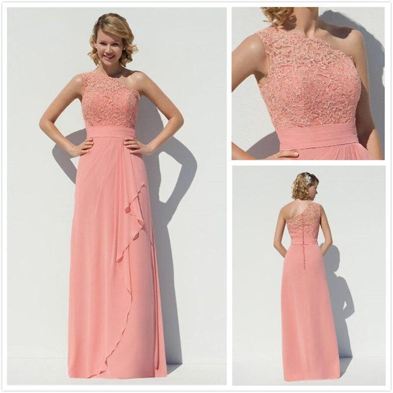 Caliente Coral Larga de La Gasa Vestidos de dama de Honor Vestido De ...