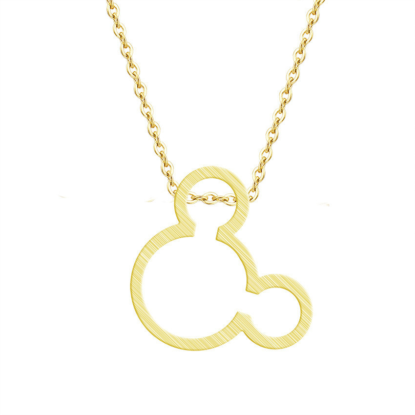 Cute Simple Design Dainty Mouse Head Necklace Cartoon Style Baby Mouse Pendant Necklaces Female Girl Jewelry Best Friend Gift