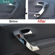 4 pcs DIY New stainless steel car styling inside the door armrests light sticker cover For Volkswagen new POLO part accessories