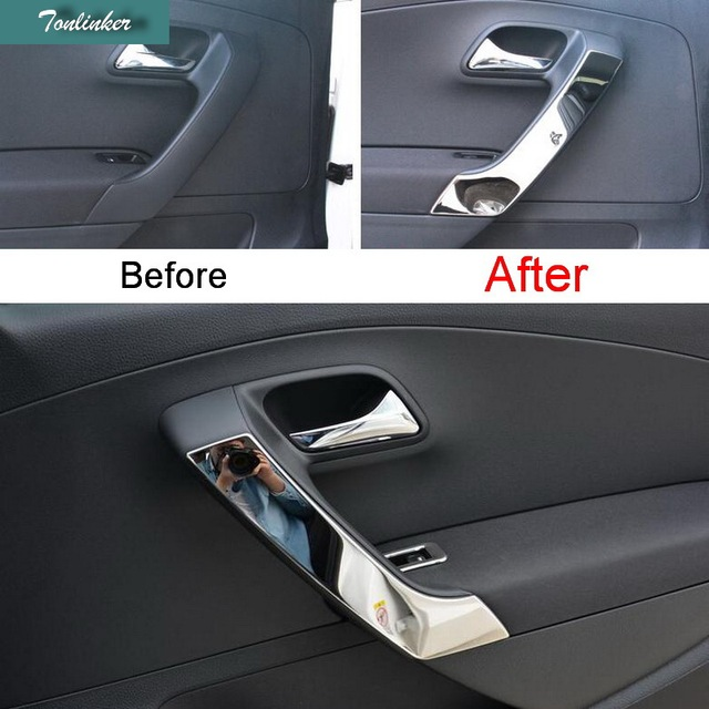 US $20 39 15% OFF|Tonlinker 4 pcs DIY Car style New Stainless Steel The  Door Armrest Light Cover Sticker For Volkswagen POLO Hatchback-in Interior
