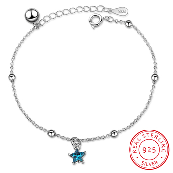 Trendy 925 Sterling Silver Bell Bracelet For Women Jewelry Charm Blue Star Female Crystal Bracelets For Girl Party Accessories lukeni latest female heart bracelets jewelry top quality silver 925 sterling silver anklets for women party accessories lady