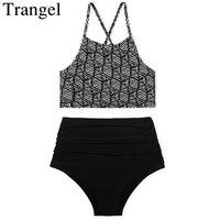 Trangel Bikini Women Swimwear High Waist Swimsuit Sexy Swimwear Push Up Crop Top High Neck Bikini