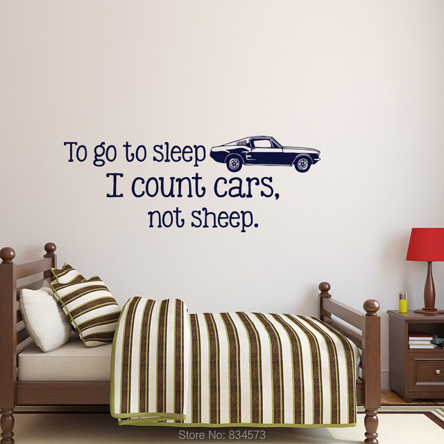To Go To Sleep I Count Cars Not Sheep Wall Art Stickers Decal Home ...