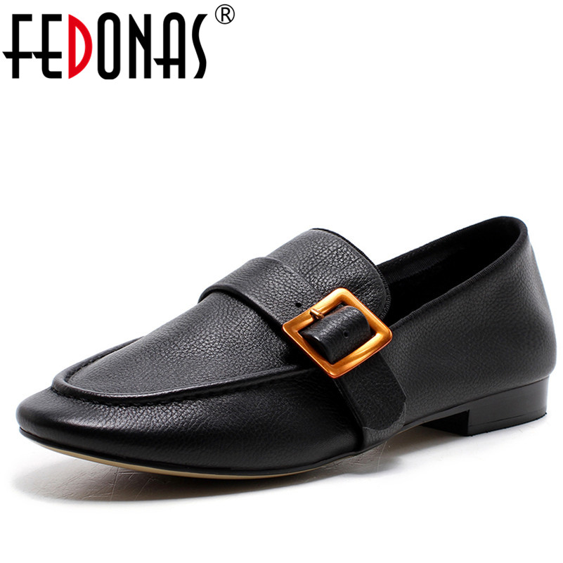 FEDONAS Top Quality Women Genuine Leather Flats Shoes Comfortable Soft Leather Casual Shoes Fashion Buckles Flat Loafer Shoes free shipping fashion summer 2017 new women shoes casual genuine leather flat shoes breathable soft comfortable