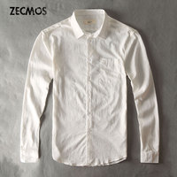 Men Casual Cotton Linen Shirts White Thin Shirt Long Sleeve Plain Male Hawaiian Travel Wear Luxury