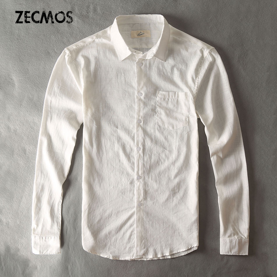 Cotton Linen Casual Shirt Men White Shirt Long Sleeve Male