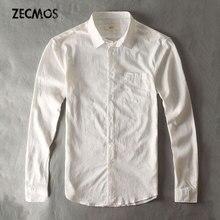 Cotton Linen Casual Shirt Men White Shirt Long Sleeve Male Slim Fit Style