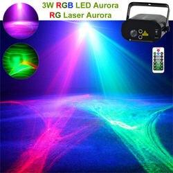 Mini pilot zdalnego sterowania na podczerwień czerwony zielony aurora laser światła i 3W RGB LED tętnienia mieszane żarówka jak lampa Party scena dyskoteki pokaż DJ oświetlenie ślubne