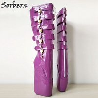 Sorbern Shiny Pu Knee High Boots For Women Gothic England Shoes Lace Up Black Boots Square