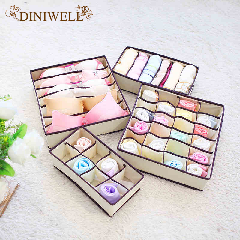 DINIWELL Storage Boxes For Ties Sock Bra Underwear Divider Drawer Closet Home Organizer Handbag Tote Bag Hanging Organiser Box(China)