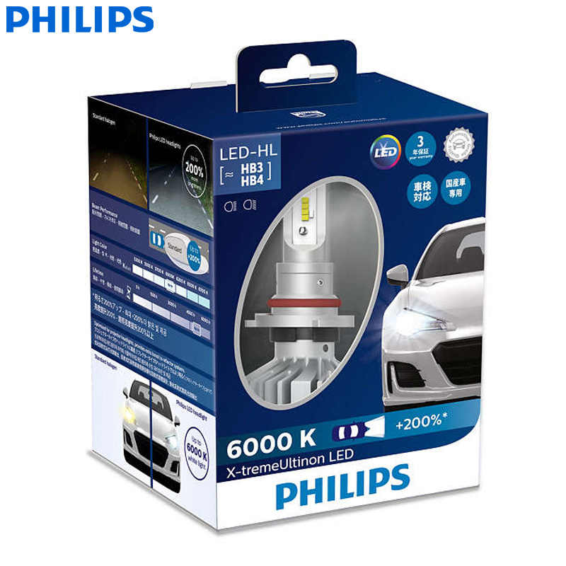 Philips X-treme Ultinon LED 9005 9006 HB3 HB4 12V 11005XUX2 6000K Car LED Head Lamps Auto Bulbs +200% More Bright (Twin Pack)