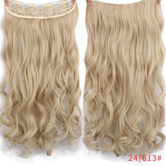 "AISI HAIR 22"" 17 Colors Long Wavy High Temperature Fiber Synthetic Clip in Hair Extensions for Women 2"