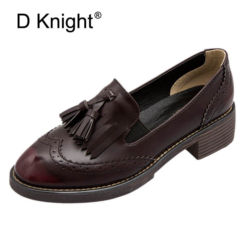 Fringe Flat Oxford Shoes For Women Round Toe Loafers Gradient Spring Flat Leather Brogue Shoes Woman Wine Red Flats Moccasins big size 33 42 brogue oxford shoes women spring autumn nubuck leather oxford shoes flats shoes woman moccasins ladies gg shoes