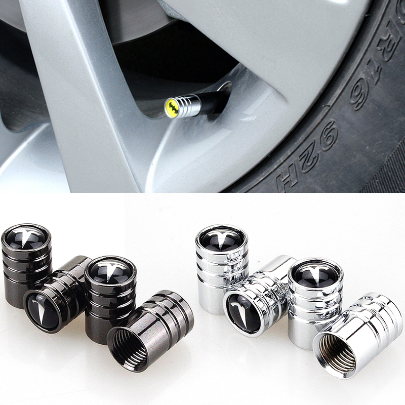 Round Car Tire Valve Cap Wheel Tyre Air Valve Cap For Tesla MODEL S S P85D X 3 Y Roadster Car-Styling Auto Accessories