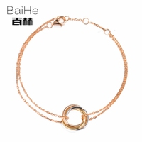 BAIHE Solid 14K Rose Gold Certified Anniversary Women Trendy Fine Jewelry Elegant unique gift Bracelet