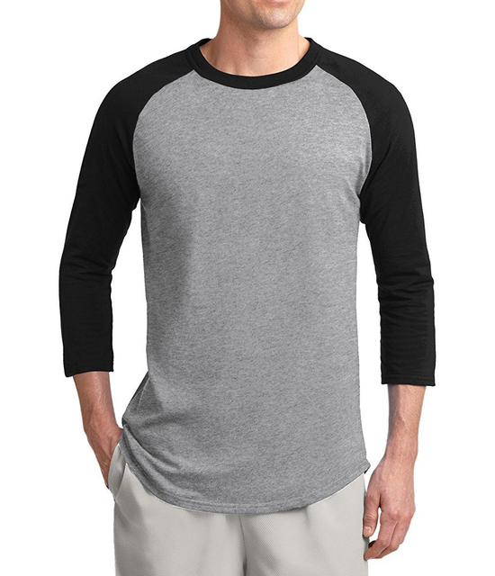 68bc40390e821 2019 Summer Autumn 3/4 Sleeve Raglan T Shirt Men 100% Cotton High Quality T- Shirt Slimple Style Solid Color Tshirt Slim Fit Tops