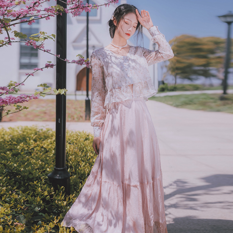 2019 new fashion women's two piece set Vintage two-piece dress French retro chiffon seaside holiday beach