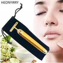 Face slimming 24K gold vibration beauty Facial roller massager stick skin tighten wrinkle bar with black bag