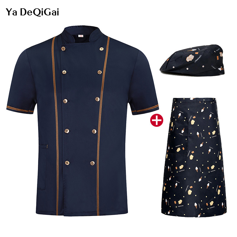 New Short Sleeve Chef Work Clothes Chef Restaurant Uniform Breathable Catering Cook Jacket + Hat +Apron Men And Women  Chef Hat