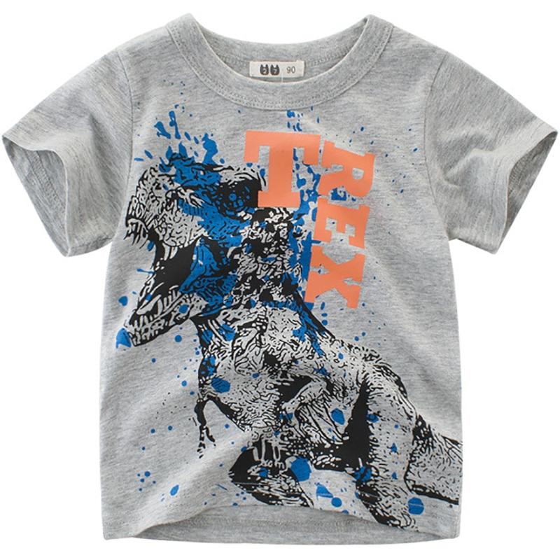 Boys T-Shirts Cute Fun Dinosaur Girls Tops Summer 2018 Kids Clothing 100% Cotton Children Short Sleeve Tshirts Toddler T Shirts