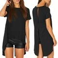 2016 Sexy Women Backless T-shirt O Neck Short Sleeve Asymmetric Black Tees Shirt Tops Summer Loose Blusas Plus Size S-XL u2