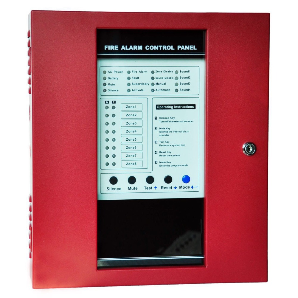 8 Zone Fire Alarm Control Panel Conventional Fire Alarm System Protect Home Safe Control Panel With Alarm Detector