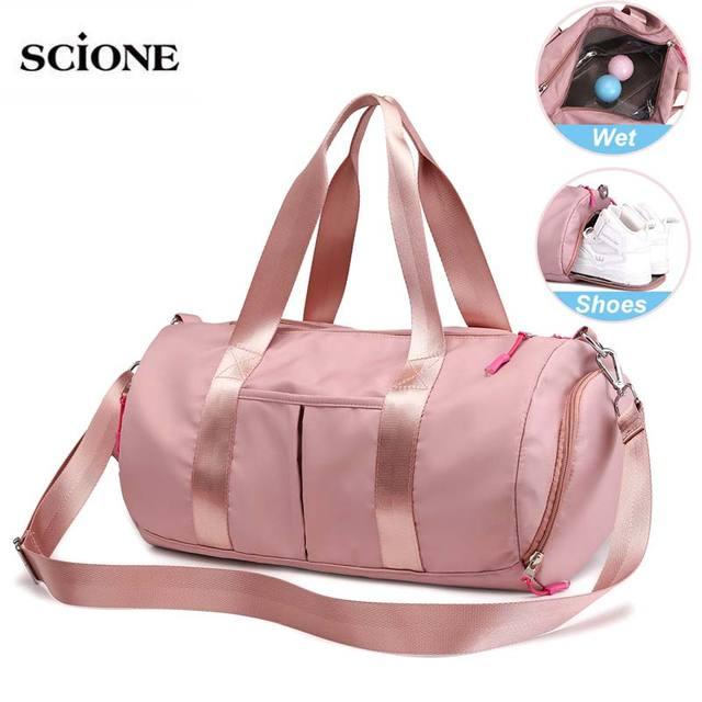 Pink Dry Wet Bag Fitness Gym Bags For Women Men Yoga Mat Tas Travel Training Sac De Sport Gymtas Sac De Sport Sporttas New XA85A