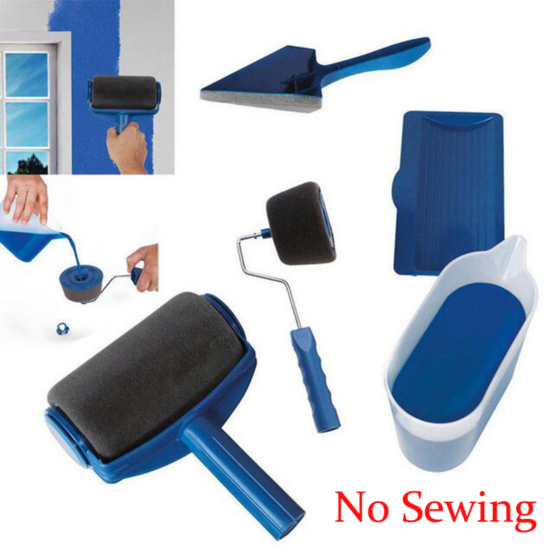 NEW Roller Brush Handle Paint Runner Pro Tool Flocked Edger Office Room Wall Painting Home Garden Roller Brush Set No Sewing