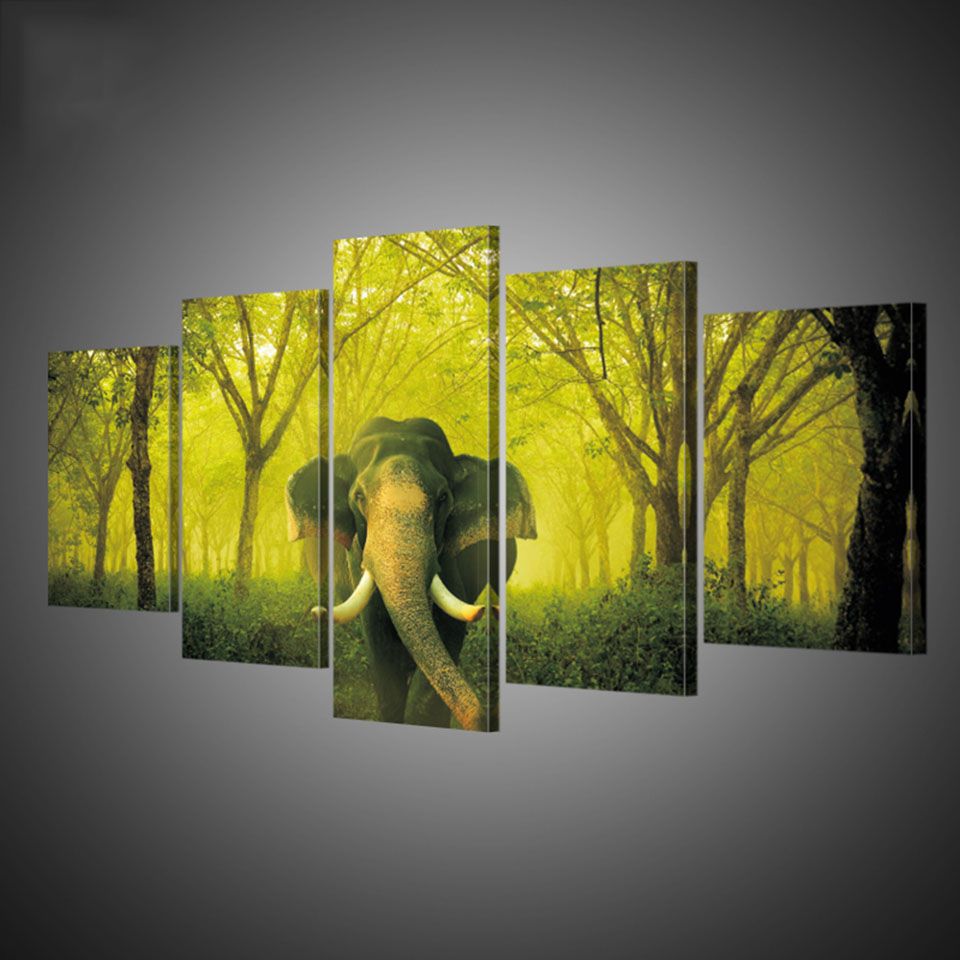Framed Abstract Modern Home Decor Canvas Printed Painting 5 Panel ...