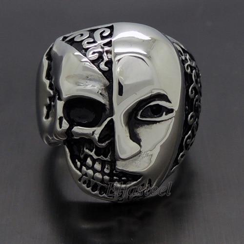 Mens New Fashion Gothic Silver Half Woman Half Face Skull Face