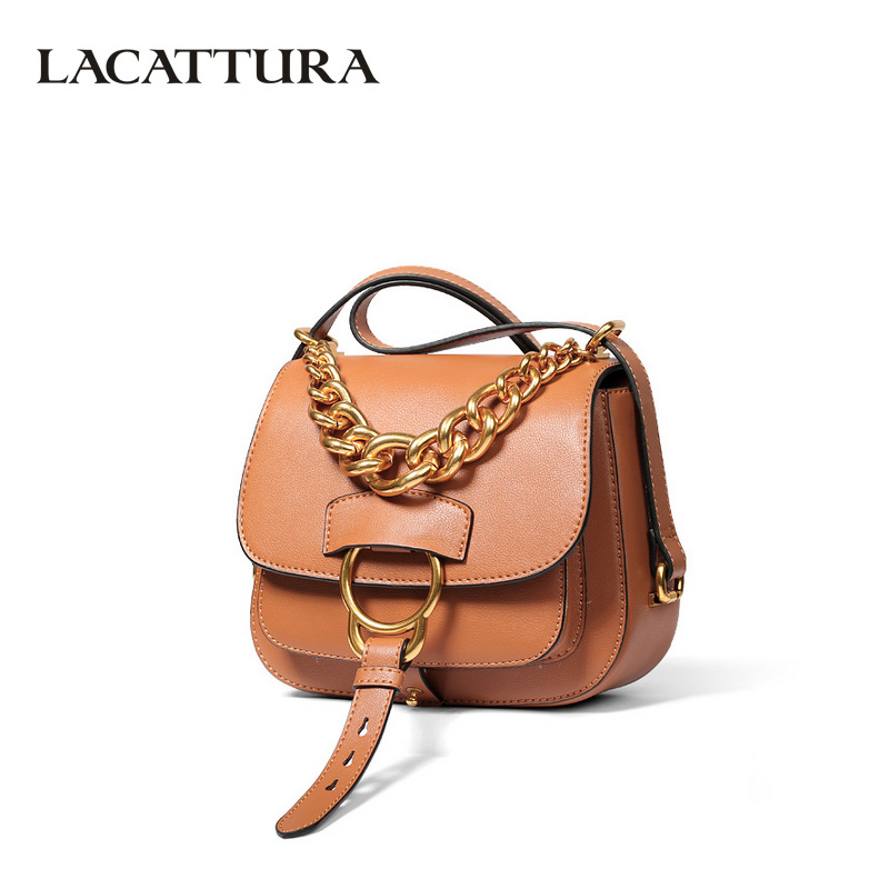 LACATTURA Luxury Handbag Chain Shoulder Bags Small Clutch Designer Women Leather Crossbody Bag Girls Messenger Retro Saddle Bag