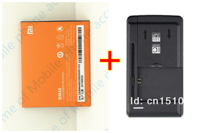 3 Pcs New Xiaomi redmi note 2 Battery  BM45 3020mAh Battery +1 PCS Dock Charger Desktop For Replacement hongmi note 2 cellphone
