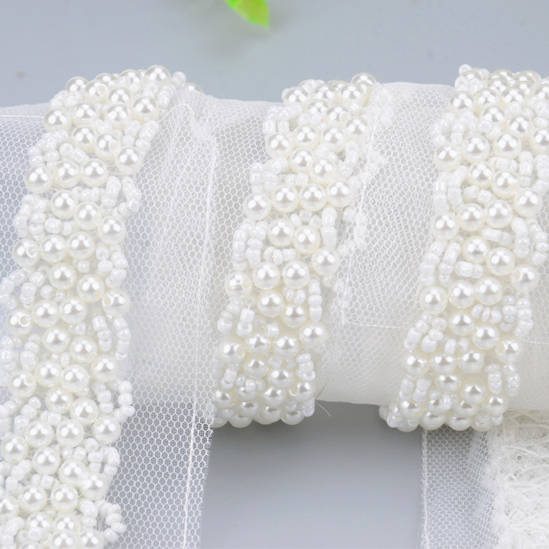 Pearl Beading Trimming Craft Fake Lace Ribbon Neckline Costume Applique  Sewing On Clothes Wedding Decoration Diy Accessories-in Lace from Home    Garden on ... c9bf0258ba8a