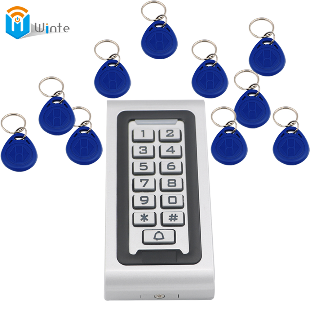 Access Control Kit Waterproof 1pcs RFID Card Reader + 10pcs fob keys Access Controller Reader Keypad With Metal Case Winte good quality metal case face waterproof rfid card access controller with keypad 2000 users door access control reader