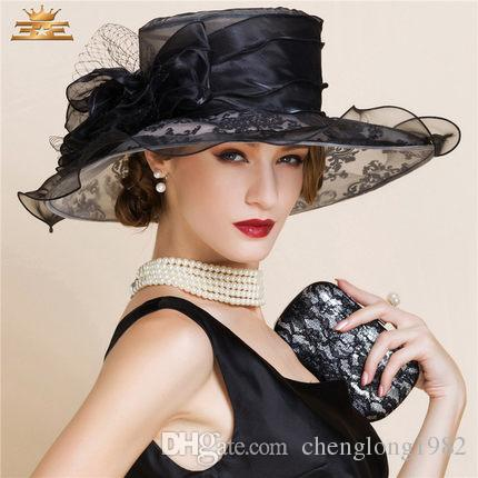 Women Church Hats Women Dress Hats Derby Church Hats 100% Polyester Satin Ribbons Two Colors Available - 4