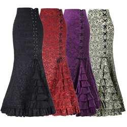 Новый для женщин пикантные Готический Винтаж длинная юбка «рыбий хвост» цветочный принт Ruffe кружево до макси юбка Bodycon Тонкий элегантный
