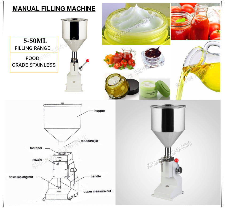 2016 NEW UPGRADED A03 Manual Filling Machine (5~50ml) for cream , shampoo , cosmetic,Liquid filler filling machine zonesun manual 5 50ml filling cream pharmaceutical cosmetic food pesticide cream paste shampoo cosmetic filler machine