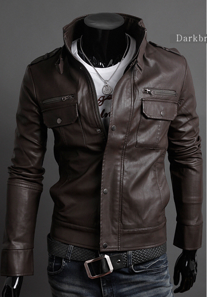 Mens Fashion Faux Leather jackets Designer Casual Slim fit ...
