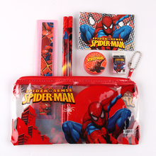 1 set kawaii pencil case for children spiderman sticker school supplies cute korean pencil case school
