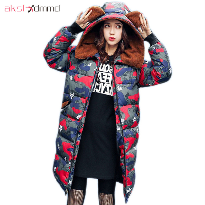 AKSLXDMMD Plus Size Print Camouflage Thick Padded Coat 2017 New Women Winter Jacket Lamb Hooded Long Coats Female Parkas LH1011 akslxdmmd women winter jacket 2017 new female jacekt fashion hooded printed letters thick padded woman coat parkas mujer lh1066