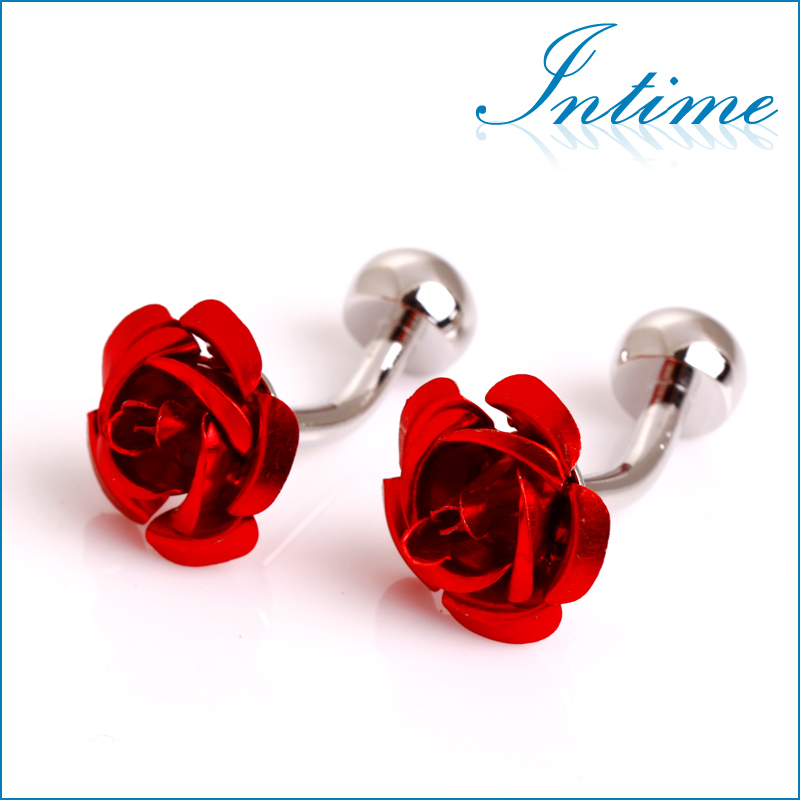 Round Red Festive Flowers Cufflinks Men/'s Wedding Groom Cuff Links New