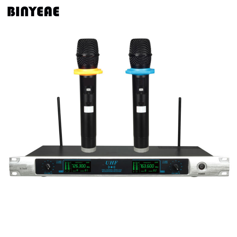 bineae y 7800 dual channel dynamic wireless microphones 2 handheld with receiver for home. Black Bedroom Furniture Sets. Home Design Ideas