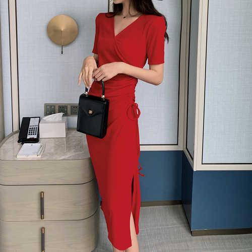 2019 Новое модное женское взрослое платье с разрезом сбоку на шнурке тонкое трикотажное платье с v-образным вырезом на талии темперамент