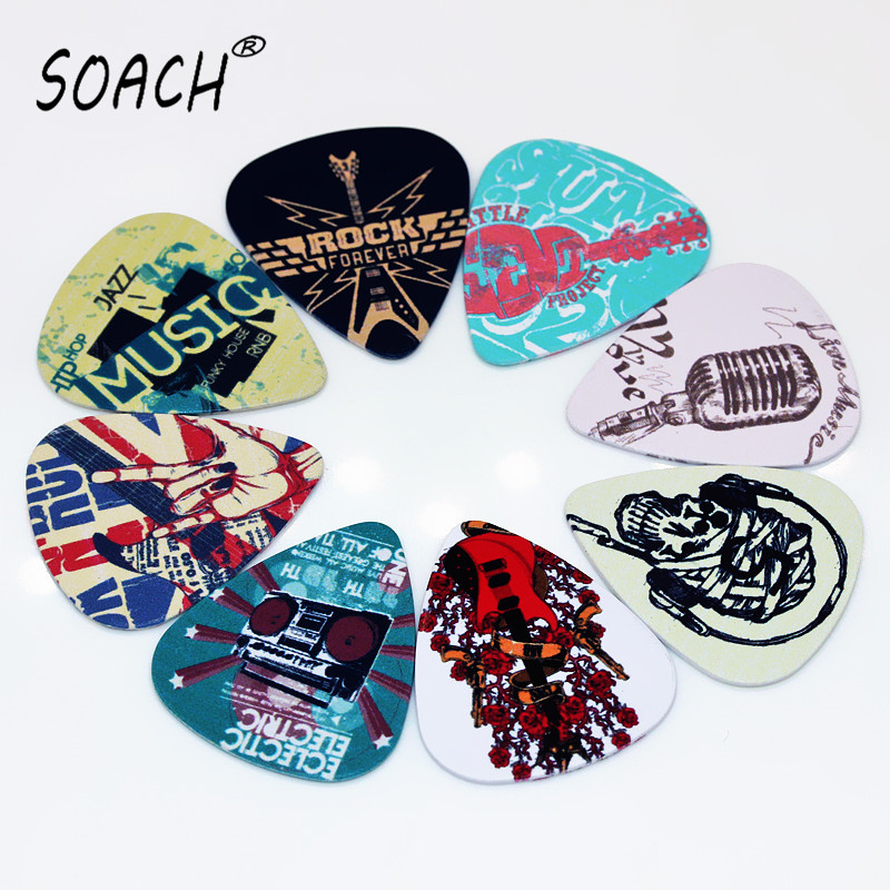 soach 10pcs 0 46mm guitar paddle blue background personality mixed pattern pvc double sided printing instrument accessories SOACH 10pcs Newest  Music element Guitar Picks Thickness 1.0mm  Guitar Accessories Musical Instruments