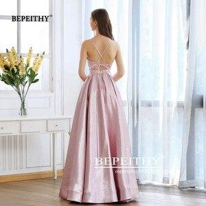 Image 2 - BEPEITHY Pink Glitter Long Evening Dress Party Elegant Sexy Cross Back A line Shine Prom Dresses Vestido De Festa 2020 New
