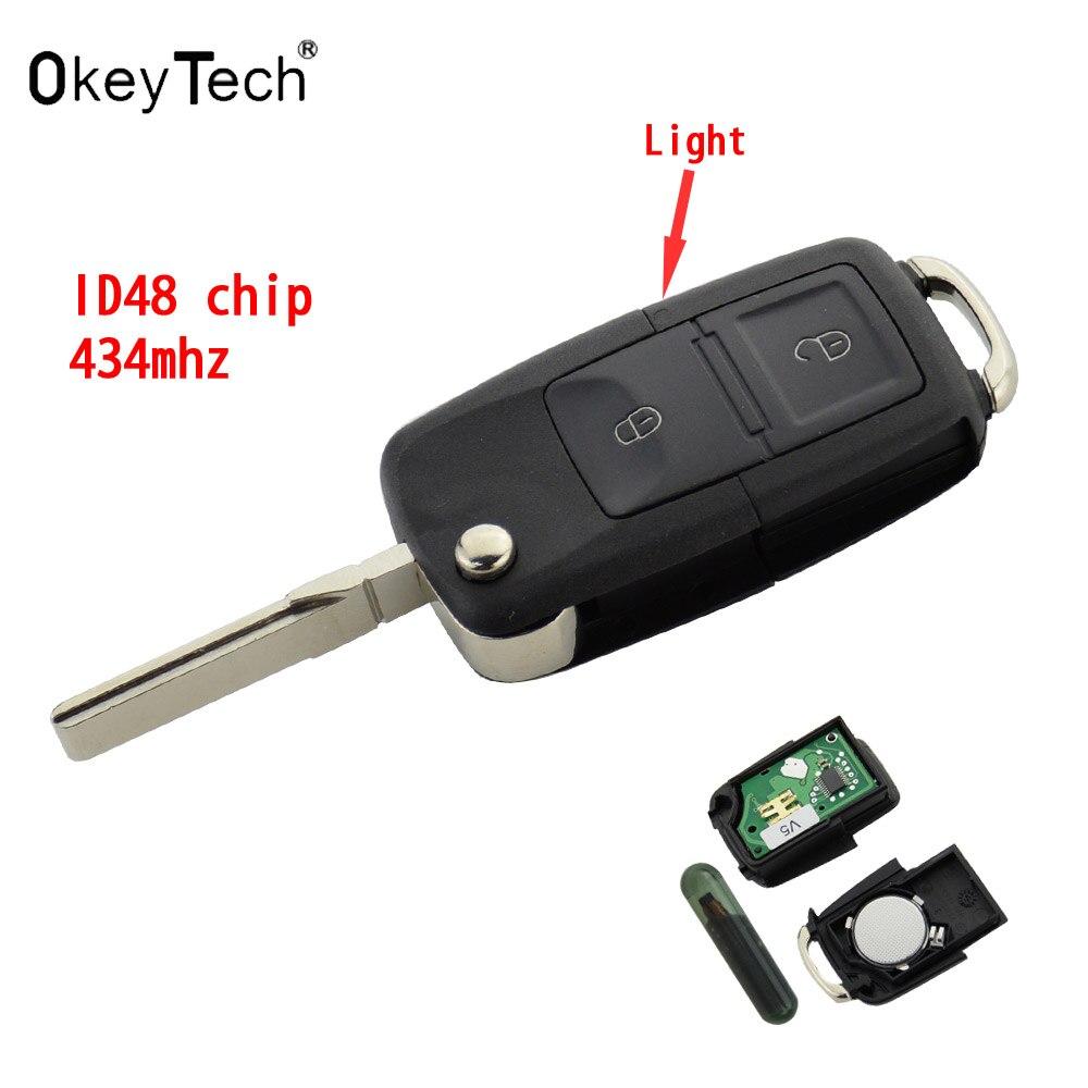 OkeyTech Switchblade Chiave A Distanza di Vibrazione Caso Fob 433 MHz Circuito Integrato ID48 Per Il VW VOLKSWAGEN Bora Golf 4 1J0959753AG 1J0959753CT 1JO959753N