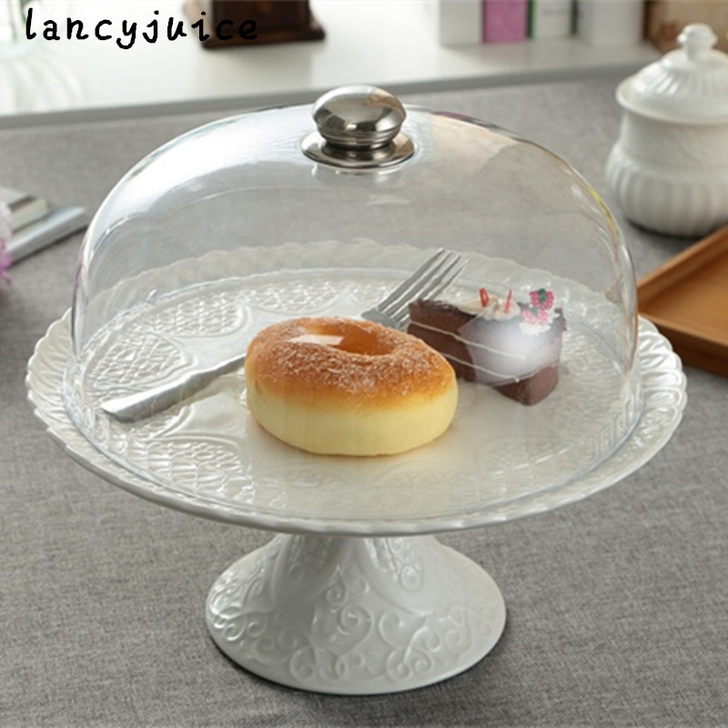 Cake Stand Plate with Cover Ceramic Relief Compote Decorative Porcelain Stem Fruits and Dessert Tray Dinnerware Ornament Craft-in Dishes u0026 Plates from Home ... & Cake Stand Plate with Cover Ceramic Relief Compote Decorative ...