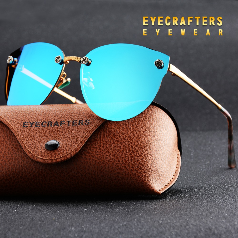 Eyecrafters Luxury Polarized Sunglasses Womens Fashion Sexy Cat Eye Mirror Gafas de sol reflectantes Retro Vintage Mujer Eyewear