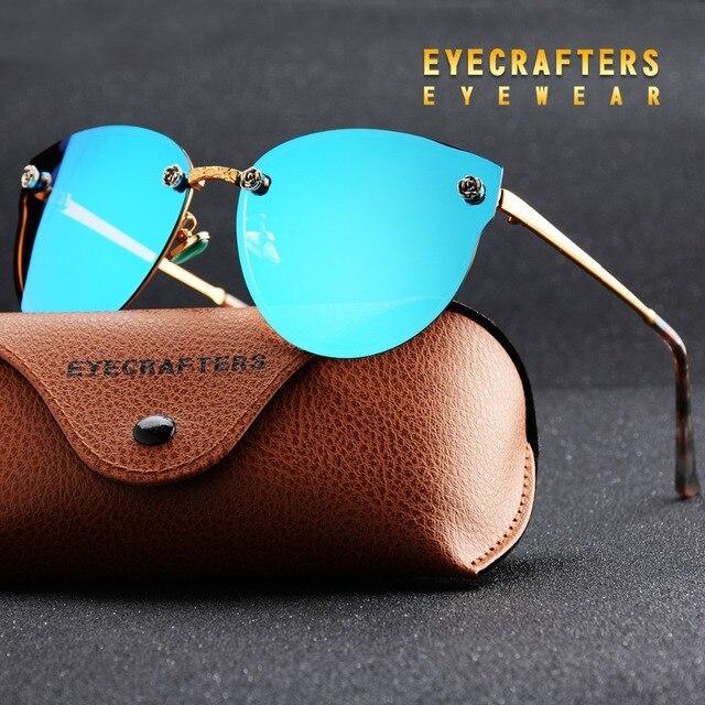 Eyecrafters Luxury Polarized Sunglasses Womens Fashion Sexy Cat Eye Mirror Reflective Sunglasses Retro Vintage Female Eyewear