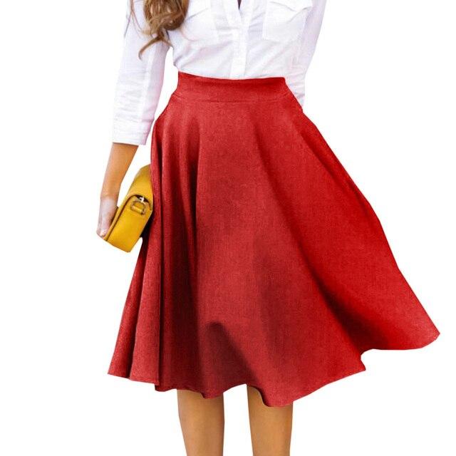 86ed923f1f Plus Size Skirt High Waisted Skirts Womens White Knee Length Bottoms  Pleated Skirt Saia Midi Pink Black Red Blue 2018
